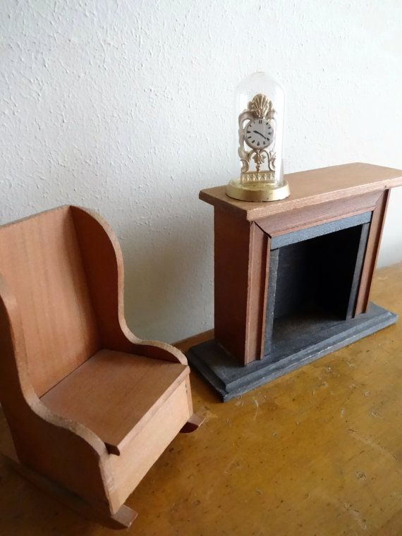 Vintage Wood Shackman Dollhouse Fireplace And Rocking Chair