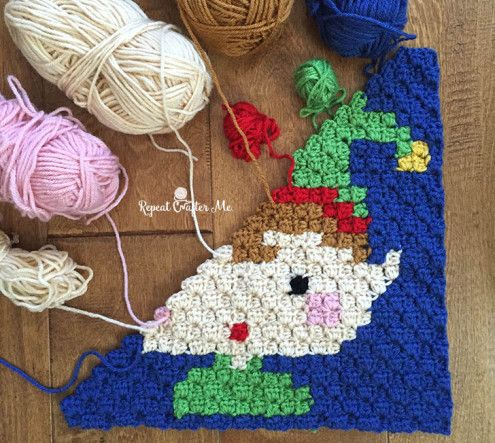 Crochet Elf Pixel Square - Repeat Crafter Me