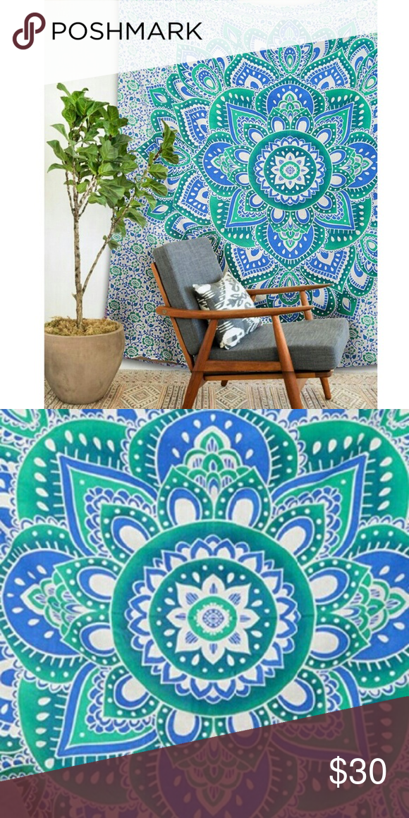 Bohemian tapestry (wall hanging mandala) Good quality 100% cotton. Perfect for a day at the beach or sun gazing. Use as wall decoration or bed spread, curtain, table cloth ect. Intricate mandala design. Average size of a queen bed sheet. Urban outfitters dupe. Urban Outfitters Accessories