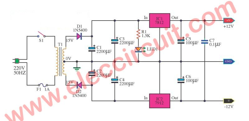 12v And 12v Dual Power Supply Circuit Diagram Using Ic7812 Ic7912