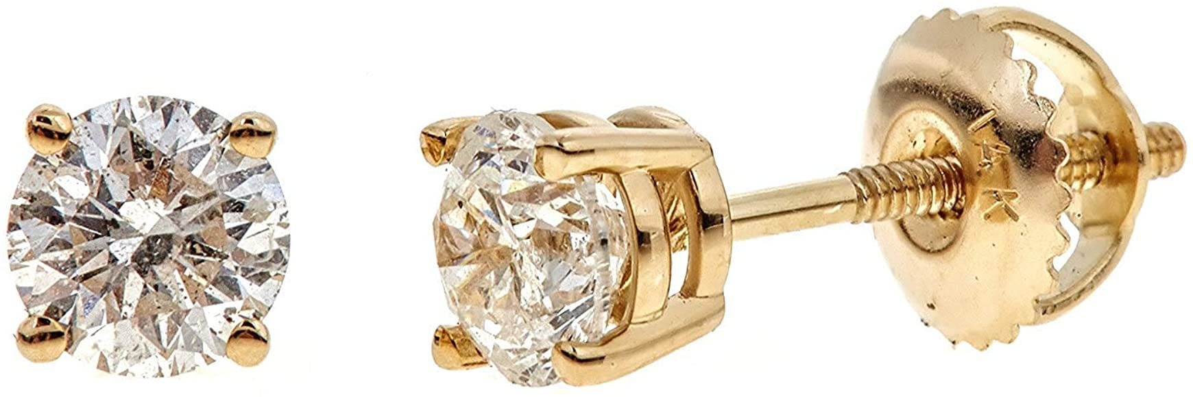 Diamond Earrings for women-girls Princess Cut studs 14K Gold Gift Box Authenticity Cards G, I1