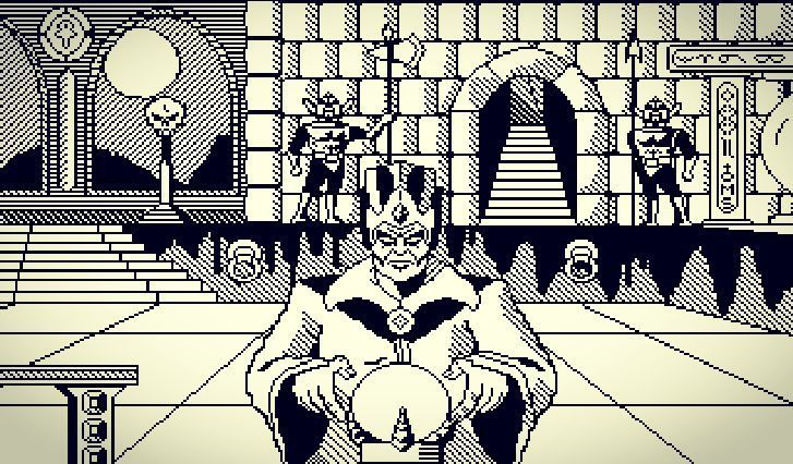 Shared by max.somma #c64 #microhobbit (o) http://ift.tt/1nGD74n #pixelart  #commodore #blackandwhite #oldfiles #iamold #sorcerer #dungeons #palace #guards #320x200 #importedfiles #koalapainter