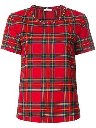 53b61d12760 P.A.R.O.S.H. tartan check T-shirt Buffel Kleed, Rood Geruit, Geruit Overhemd,  Hondstand