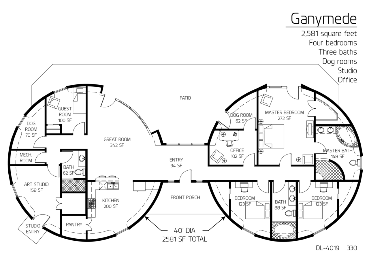Ganymede series plan, with 4 bedrooms, 3 bathrooms, and