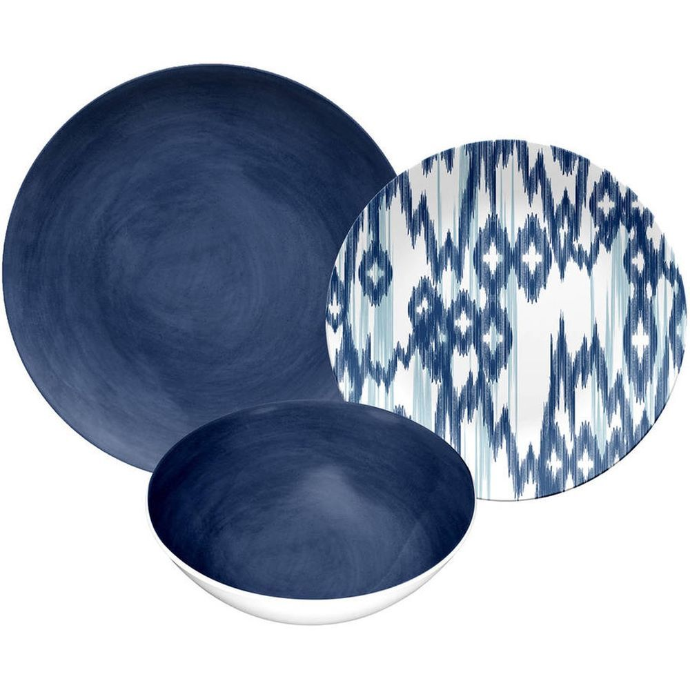 Navy Blue Glaze 12pc Dinnerware Kitchen Glass Plate Bowl Set | Bowl ...