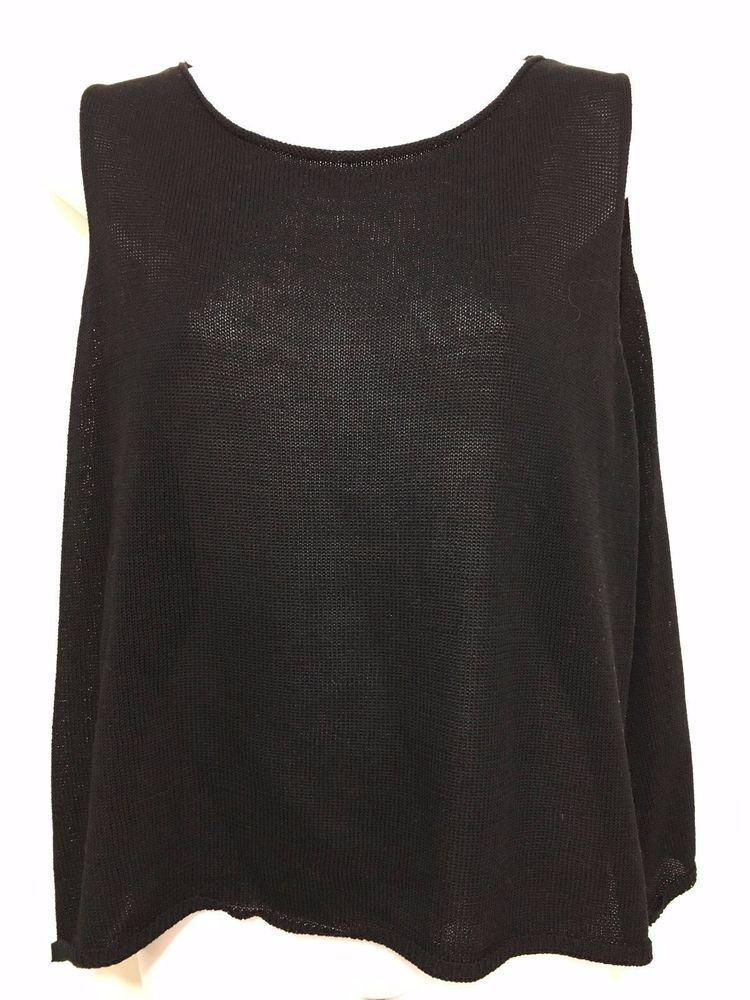 Eileen Fisher Womens XL Black Cotton Knit Sleeveless Tank Top  #EileenFisher #TankCami #Versatile