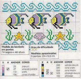 Bordado Passo a Passo: GRAFICO DE PEIXES PARA BORDAR