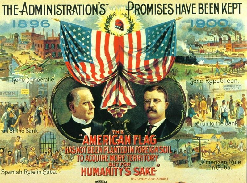 Promises Mckinley Campaign Poster Jpg 800 593 With Images Presidential Campaign Posters The Spanish American War William Mckinley
