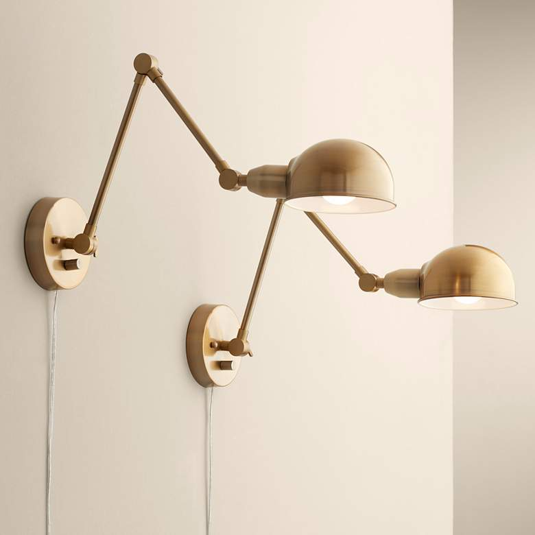 Somers Antique Brass Led Wall Lamp Set Of 2 36x41 Lamps Plus In 2020 Brass Wall Lamp Wall Lamp Industrial Wall Lamp