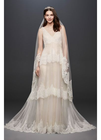 ❤ ❤️Love David\'s bridal Banded Eyelash Lace Layered Wedding ...
