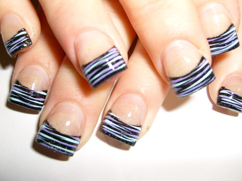 french BLACK gel nails | ... french-black-nail-design-with-purple ...