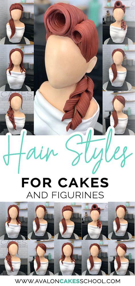 Fondanthaar für Ihre Kuchen! Ich liebe die Textur auf diesem Haar, ideal für Zuckerfiguren …