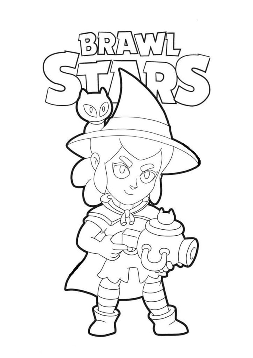 Witch Shelly High Quality Free Coloring Page From The Category Brawl Stars More Printable Pictures On Our Websi Star Coloring Pages Coloring Pages Star Art