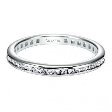 0.65 ct F-G SI Diamond Eternity Band Wedding Band In 18K White Gold WB3944-9W83JJ