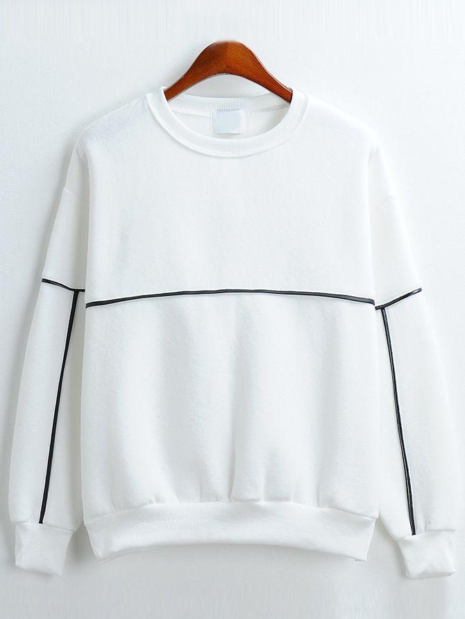 0ca85a8d1b81 Round Neck Loose White Sweatshirt www.romwe.com