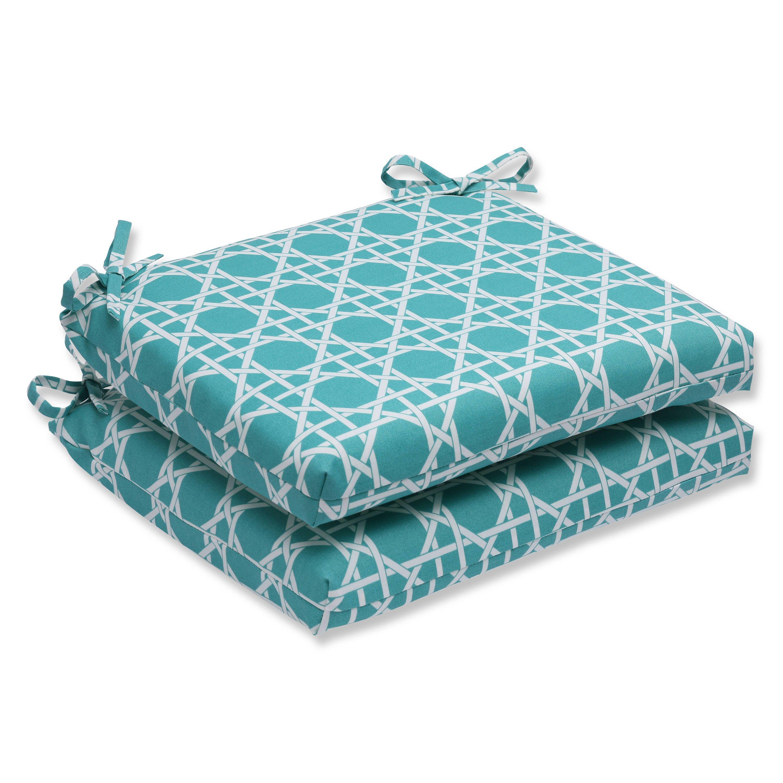 Pillow perfect outdoor kane aqua squared corners seat cushion set