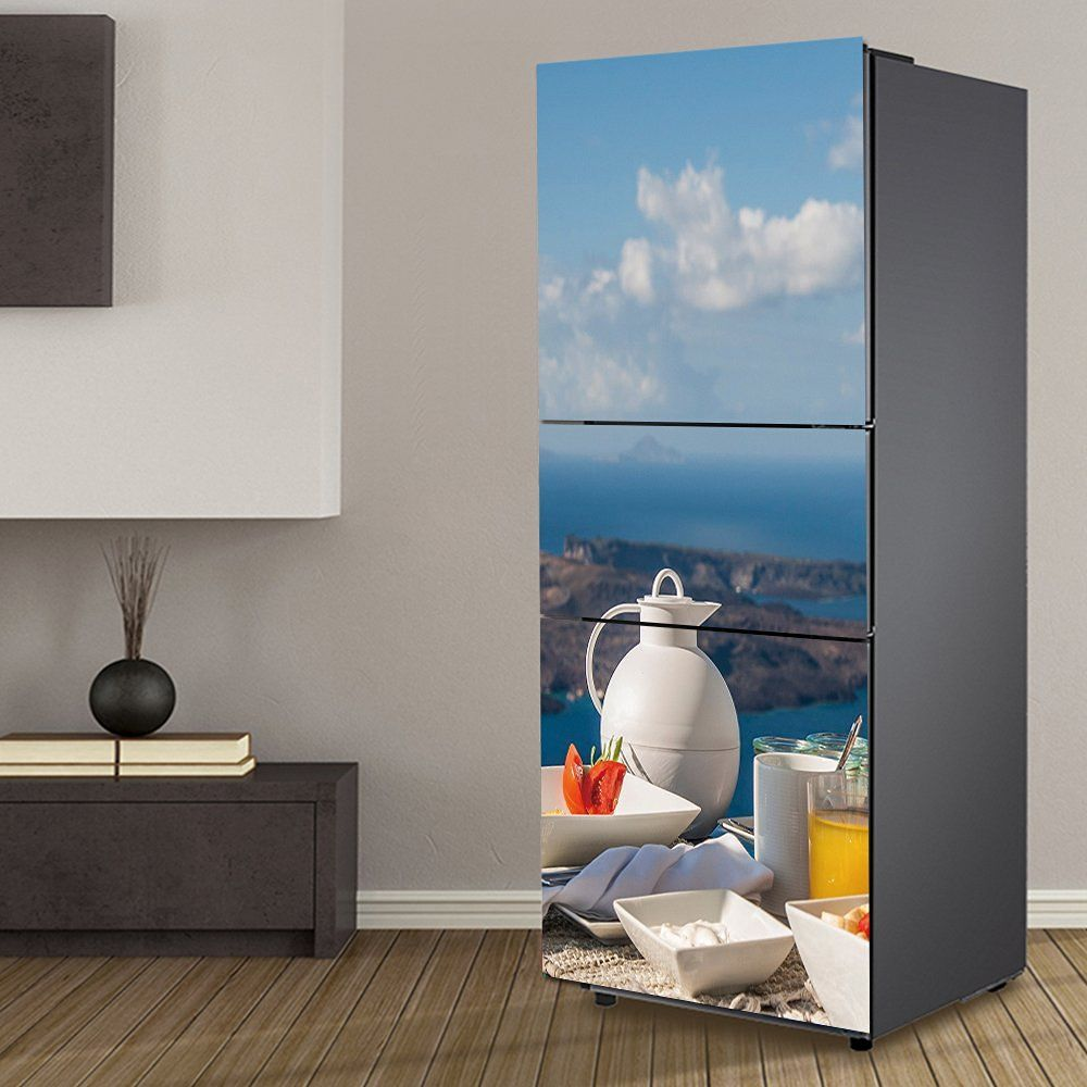 Yazi customized door fridge sticker closet cover tea time self adhesive wall decal hallway mural 23x59