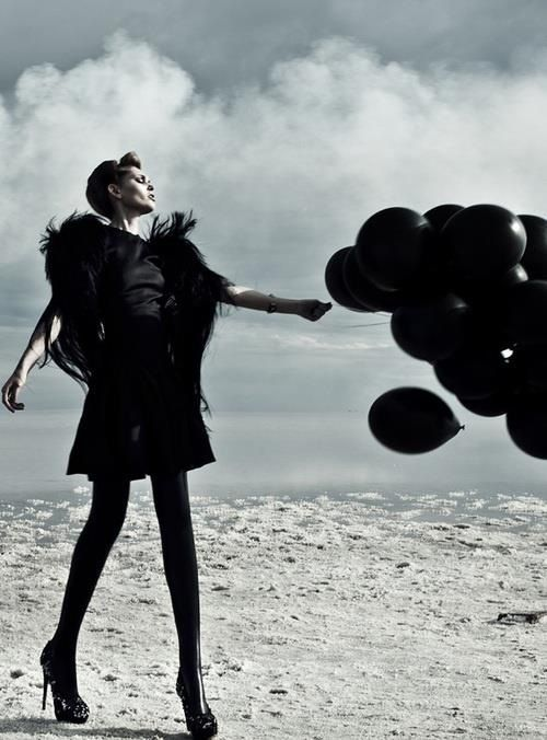 This jacket's texture is amazing! Love the vibe of the balloons with the desolate background.