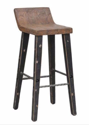 24 Low Back Counter Height Stool Vintage Wood Rustic Kitchen Bar