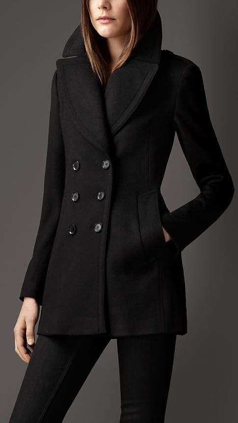 Burberry Wool Cashmere Pea Coat with Black Skinny Pants 0e5e536a3