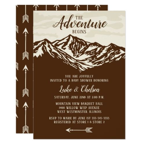 The Adventure Begins Mountain Rustic Baby Shower Invitation | Zazzle.com  The Adventure Begins Mountain Rustic Baby Shower Invitation  #Adventure #Baby #Begins #Invitation #Mountain #Rustic #Shower #Zazzlecom