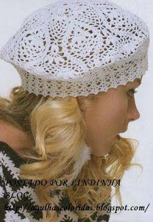 Receitas de Crochet: Boina branca