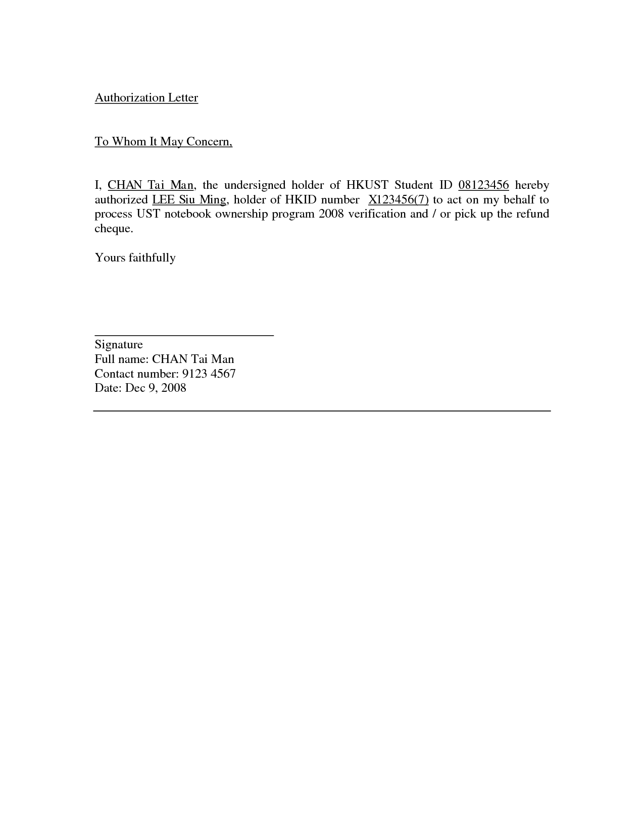 Authorization Letter Samples Act Behalf Word Excel Authority Format