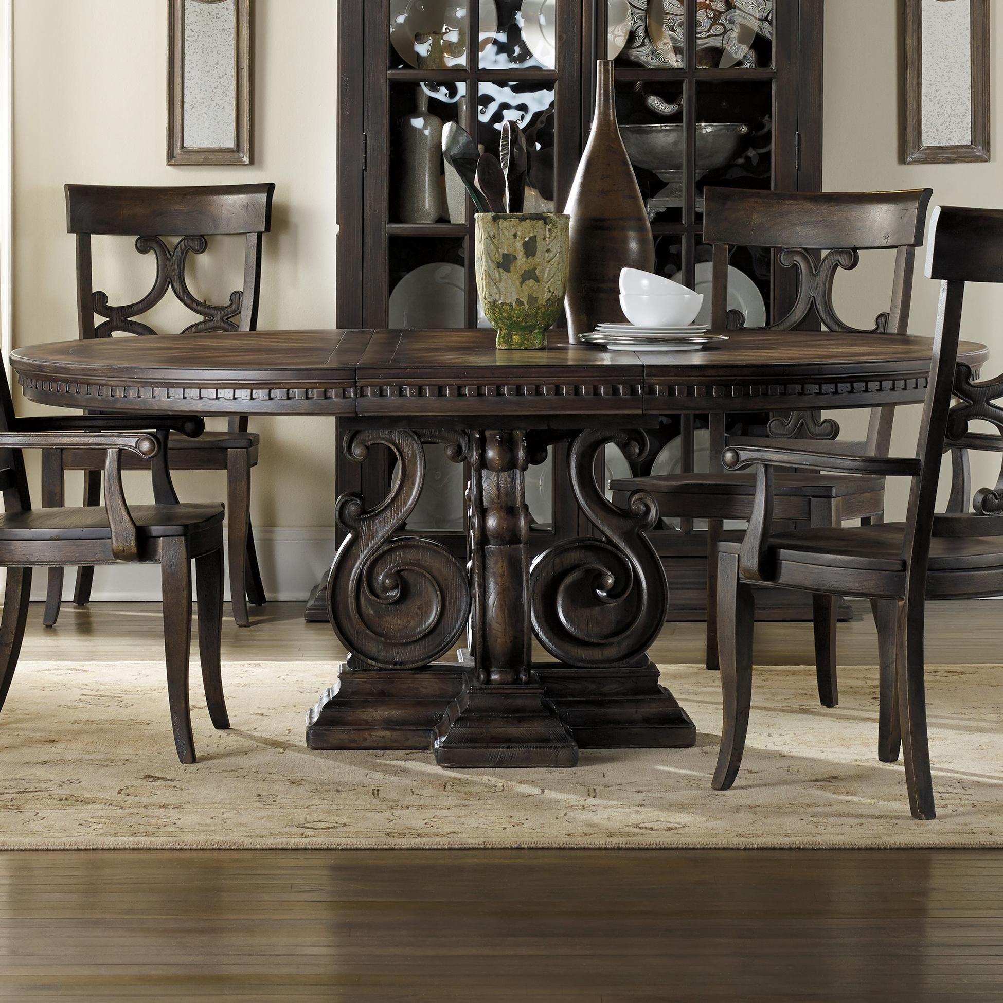 davalle round dining table with scroll pedestal by hooker furniture at godby 39 s dining room. Black Bedroom Furniture Sets. Home Design Ideas