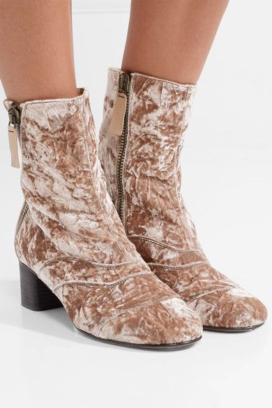 Chloé Lexie Crushed-velvet Ankle Boots - Antique rose Amazing Price Cheap Price Outlet Big Sale Choice Cheapest Price Cheap Price Sale Footlocker Finishline 5R7QYs6iyW