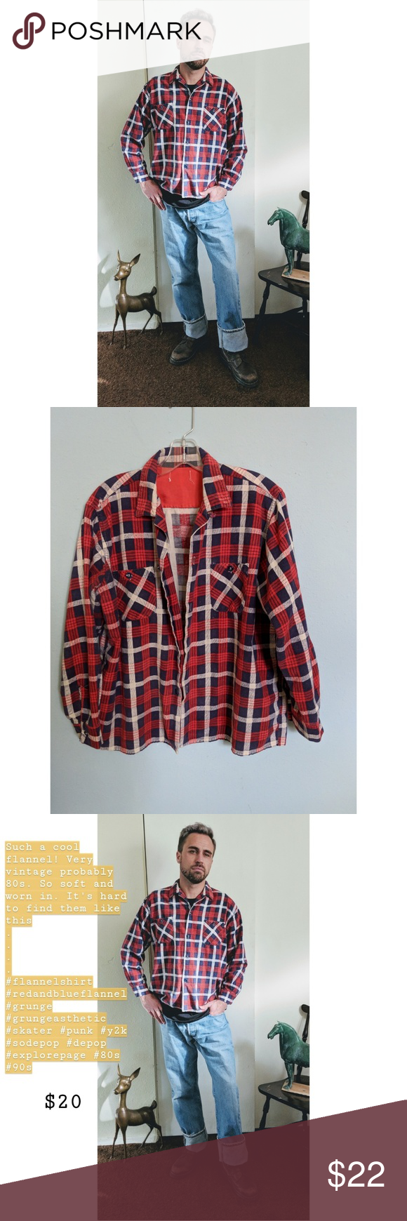 6bf44bd3 Vintage 80s flannel Such a cool flannel! Very vintage probably 80s. So soft  and worn in. It's hard to find them like this . . . . #flannelshirt ...