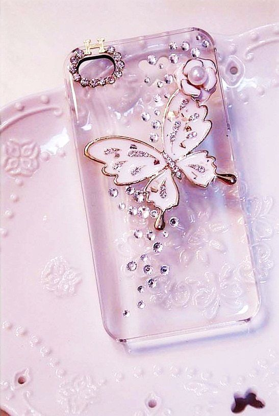 Delicate Butterfly And Crystal Bling Diy Phone Case Kit For Iphone Htc Etc Tool Glue Kit Diy Phone Case Bling Phone Cases Diy Phone