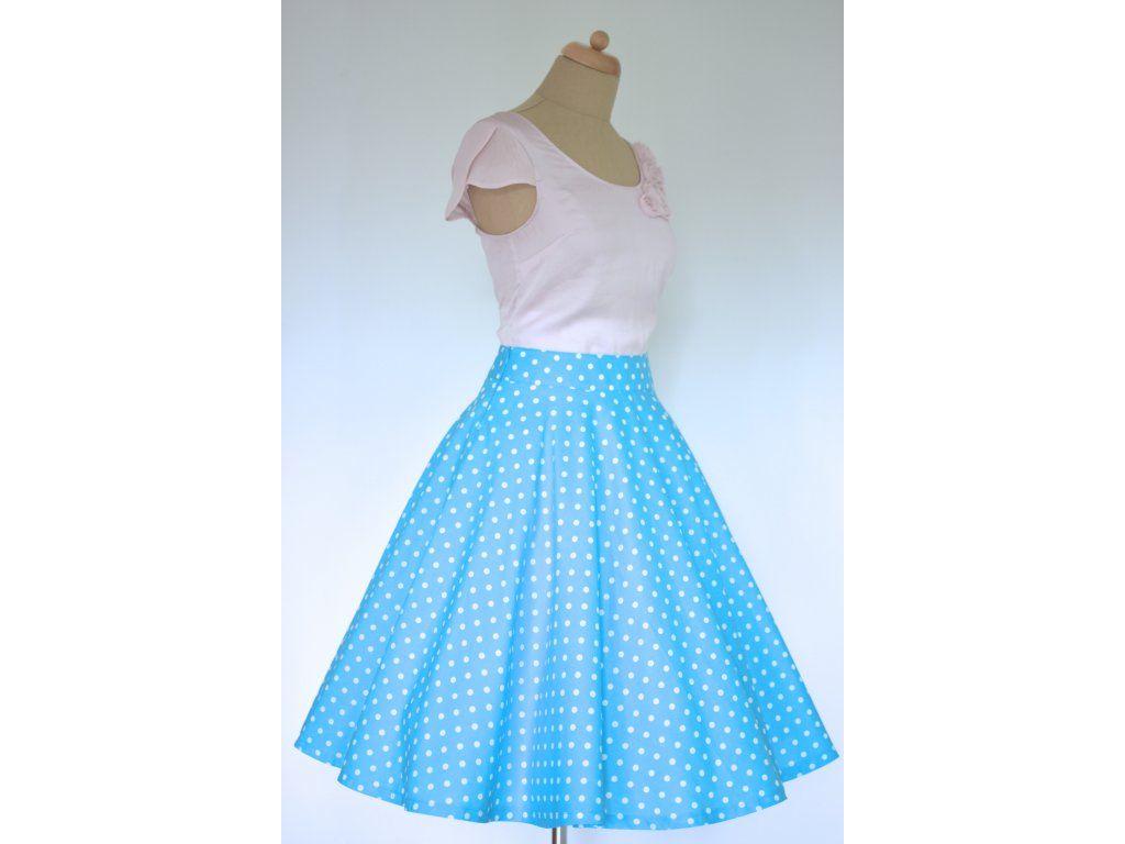 Kolová sukně modrá s puntíkem. plně kolová sukně délka 60 cm zip na levé  straně 3b18e15a21