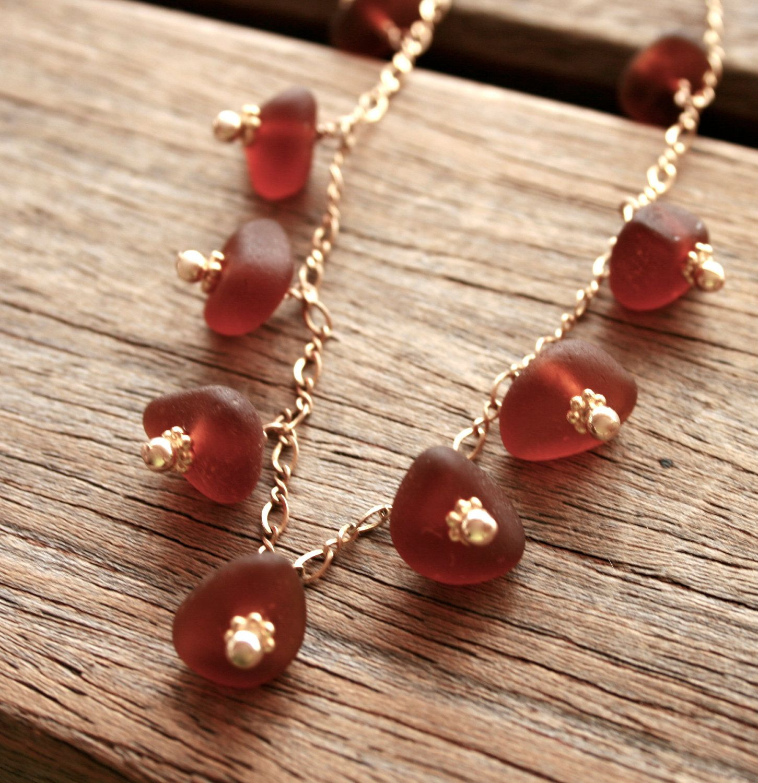 "Brown Sea Glass ""Acorn"" Necklace 14K Gold Fill. $42.00, via Etsy."