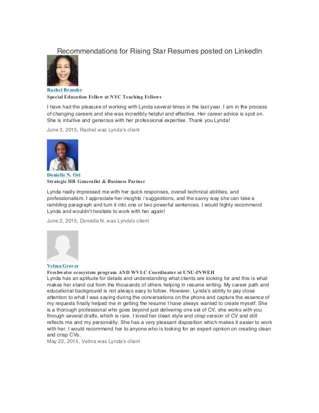 Recommendations LinkedIn Client Reviews for Rising Star Resumes on