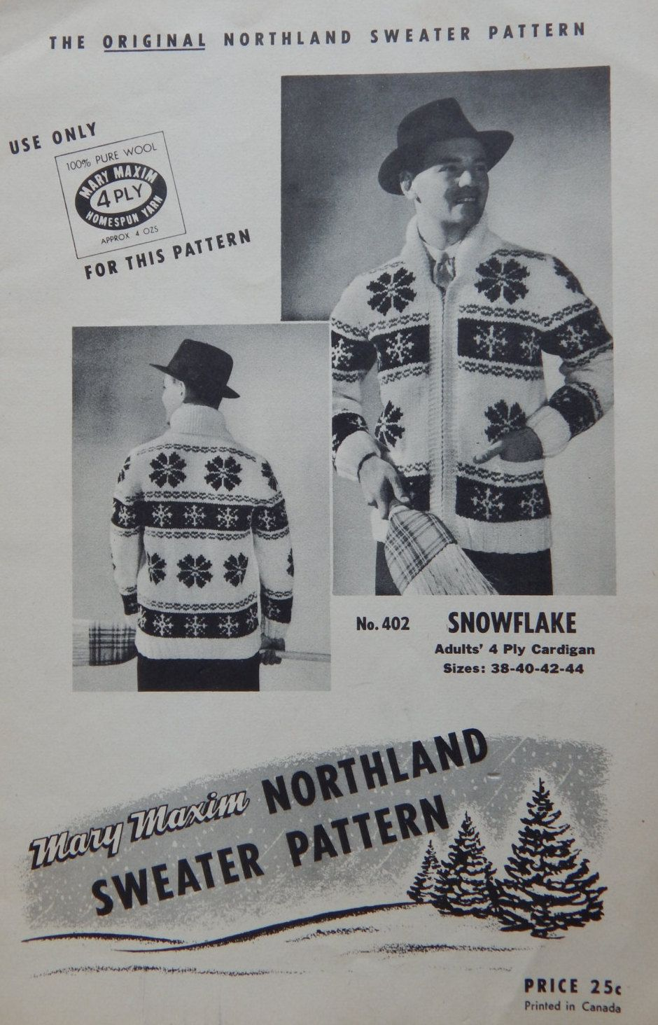 Mary Maxim Snowflake Sweater Knitting Pattern Zipper Front, No. 402/ Men Women Unisex Size 38- 40- 42- 44 / Chart Graph Style Bulky Cardigan by RedWickerBasket on Etsy