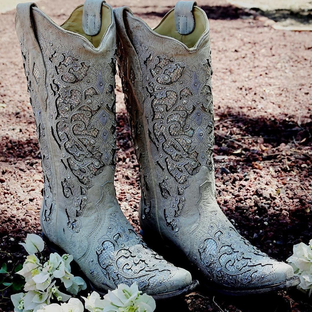 Corral ladies white leather glitter inlay crystal boots