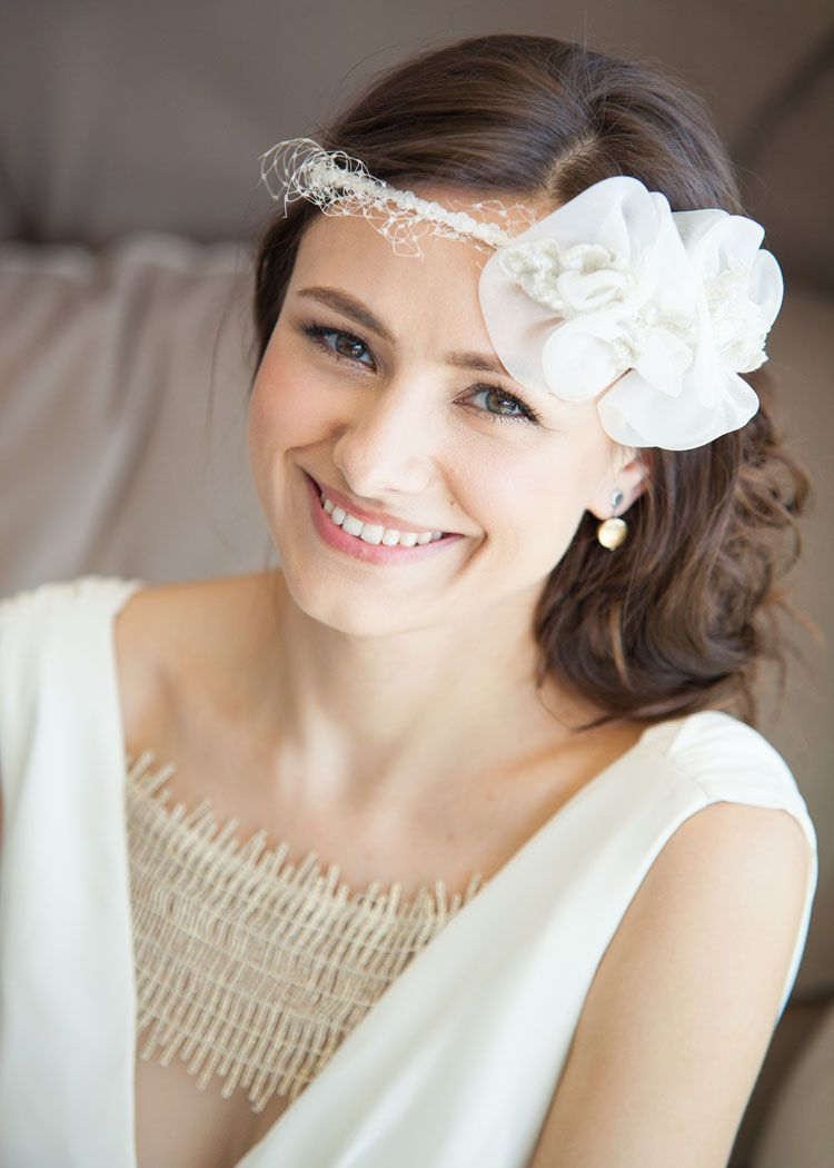 russian bridal hair and makeup with headpiece by brittany renee