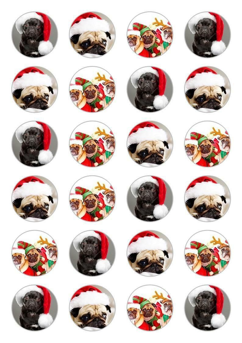 24 pug edible xmas cake toppers available at wwwilovepugs