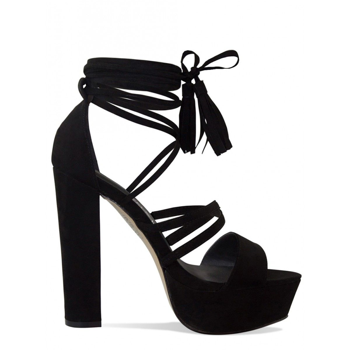 a1634e96d7b Joyce Black Suede Lace Up Platform Block Heels   Simmi Shoes - Love Your  Shoes!