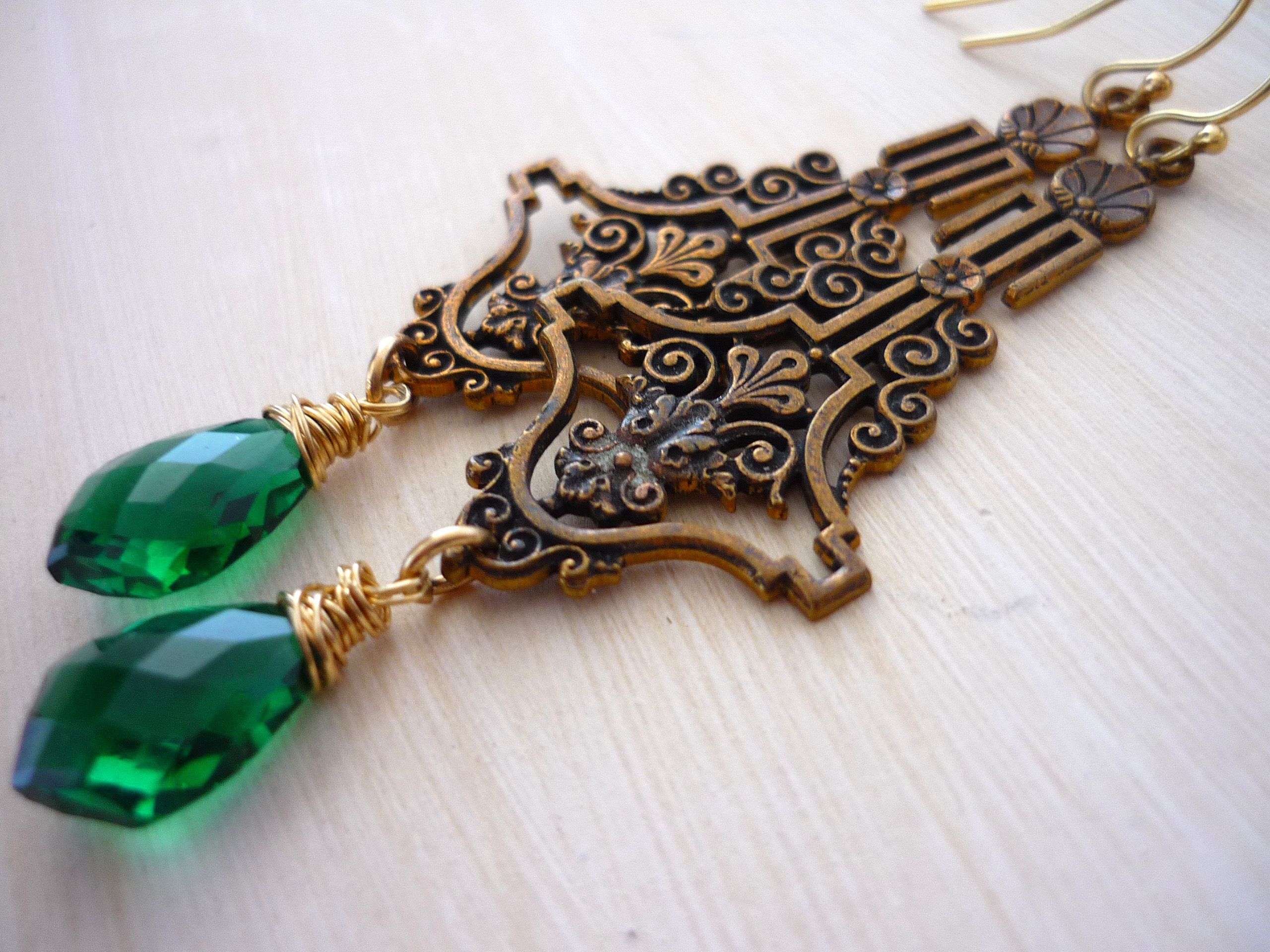 lush Baubles Kylie Marie Antique art nouveau brass filigrees, green rock crystal quartz, 14kt gold filled wires $129.00