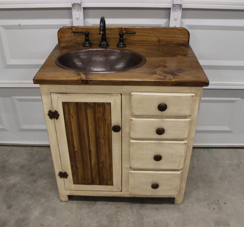 Rustic Farmhouse Vanity 32 Copper Sink Antique White
