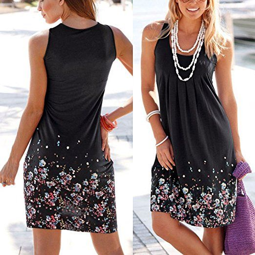 1e0aea3461 Kinikiss Women s Sleeveless Sexy Mini Beach Party Sundresses Summer Casual  Floral Printed Short Dress  Amazon.co.uk  Clothing