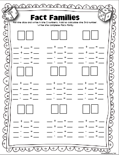 The Lesson Plan Diva Free Dice Games Fact Families Math School Math Lessons Math Facts