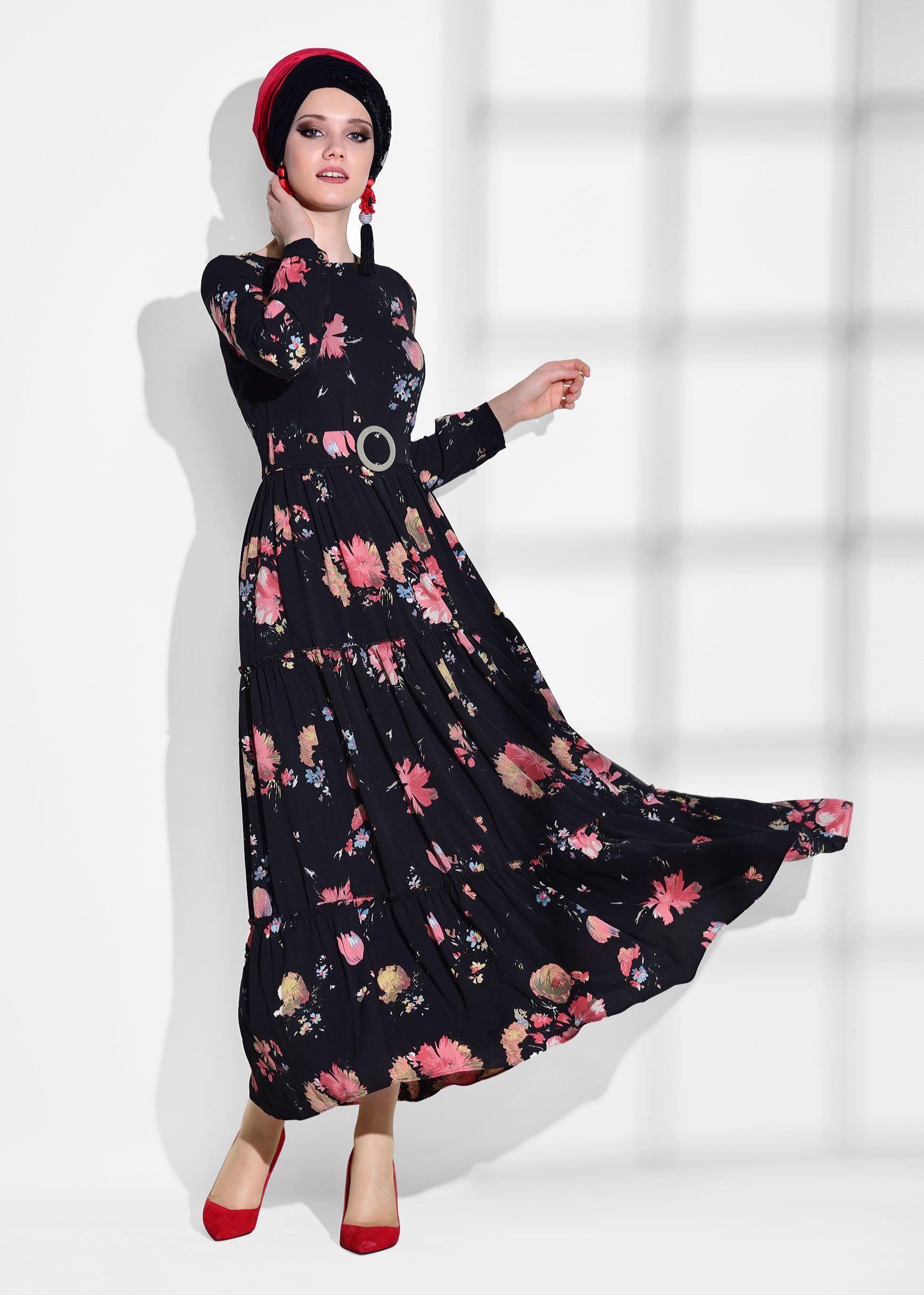 be33b45a9e563 T 7723 Mas-Çiçek Desenli Elbise - PUDRA - Trend Tesettür | tr ...