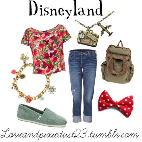 Need something simple, colorful, and comfortable to wear to Disneyland or Disney World? Here is an easy outfit to put together that will still put you in the Disney mood. The vibrant shirt and red bow make this outfit pop. The comfortable TOM's shoes make this outfit easy to wear along with the playful backpack, cuffed jeans, and fun jewelry. You'll be dreaming about Disney in no time. xoxoLove & Pixie Dust