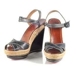 Christian Louboutin Black Wedges with White Stitching - $850.00