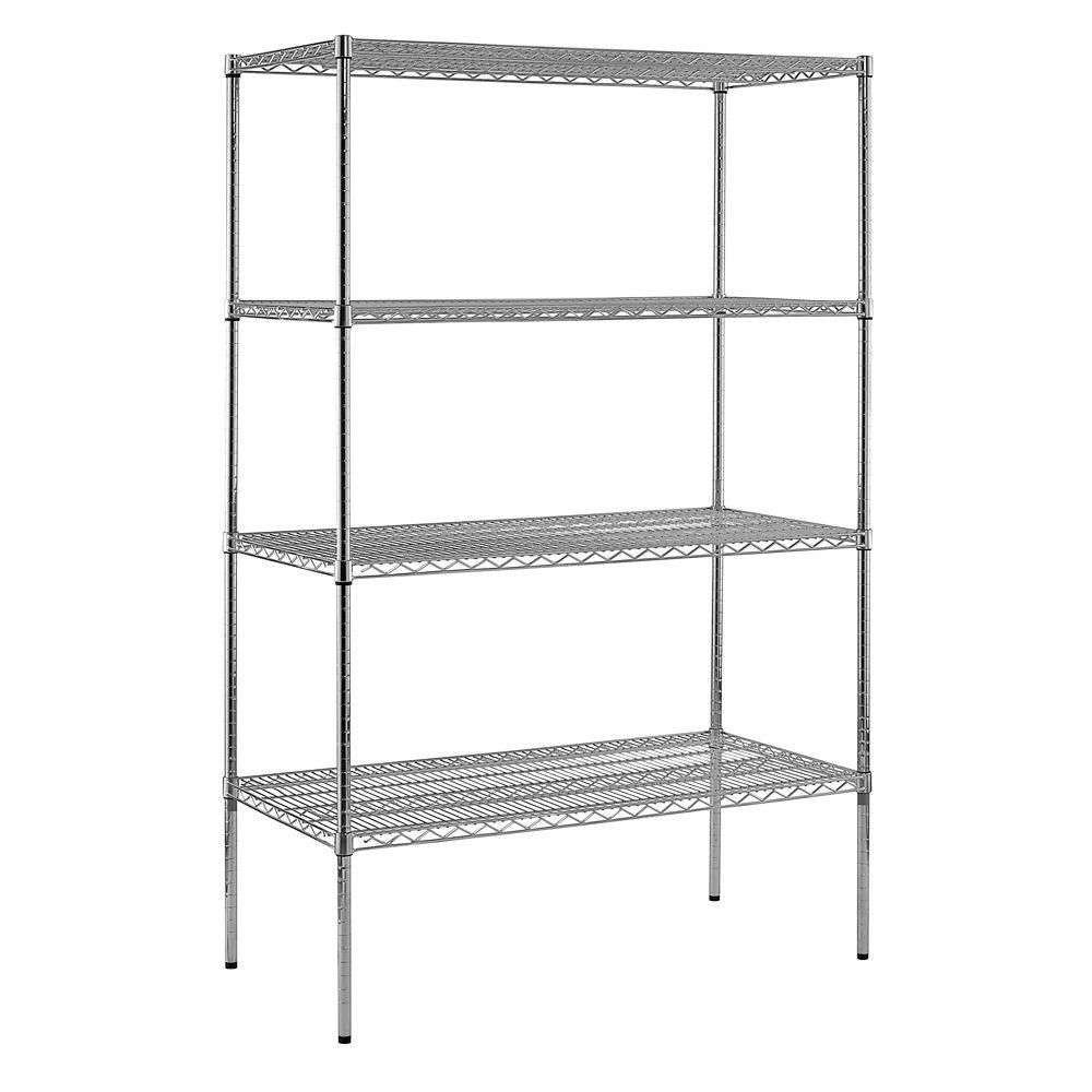 """8/""""d x 48/""""w Chrome Wire Shelving with Five Shelves"""