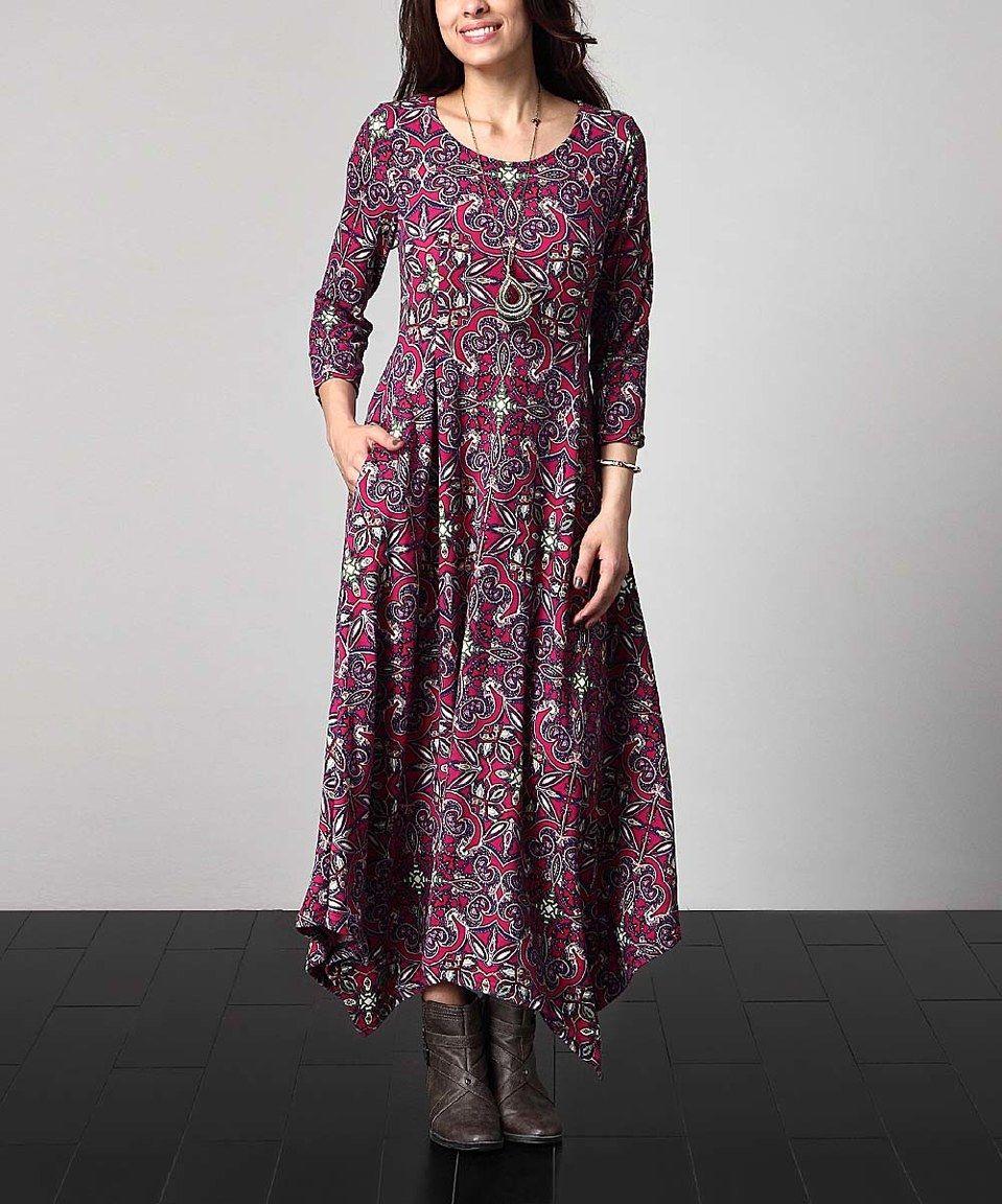 Magenta floral handkerchief maxi dress plus by reborn collection