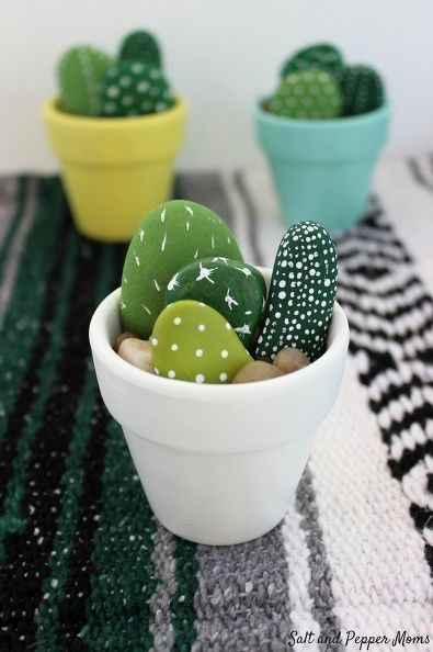 The Best Office Desk Accessory Is Plant That Never S Adorable Diy Cactus Rock