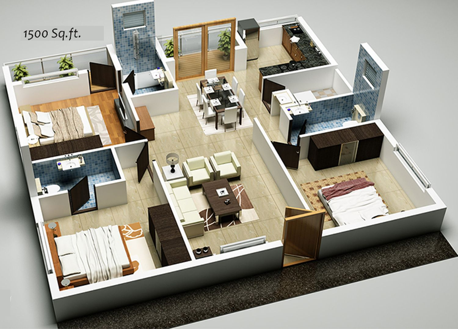 3bhk Floor Plan In 1500 Sq Ft House Plans 3d House Plans Shop House Plans